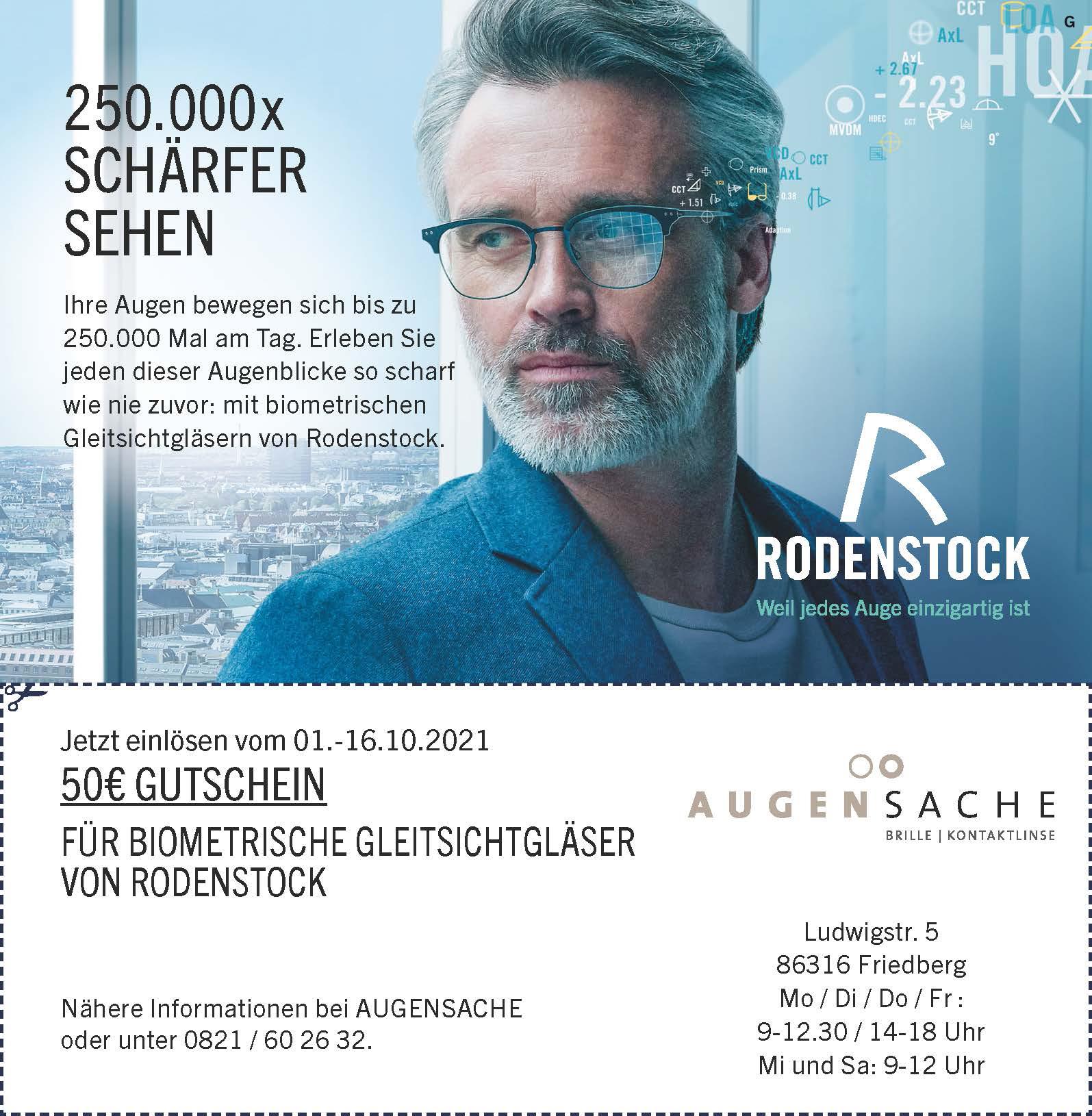 Biometrische Gleitsichtgläser Gutschein von Optiker AUGENSACHE Brille Kontaktlinse in Friedberg